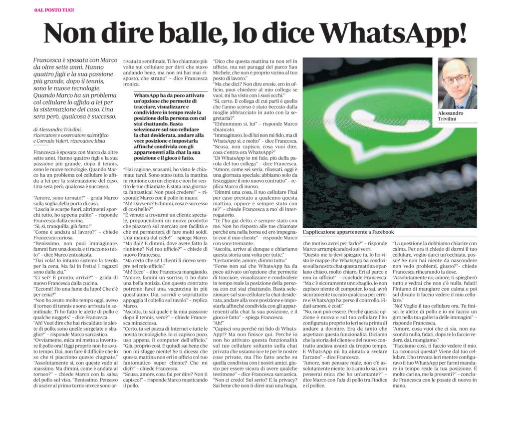 Non dire balle, lo dice WhatsApp!