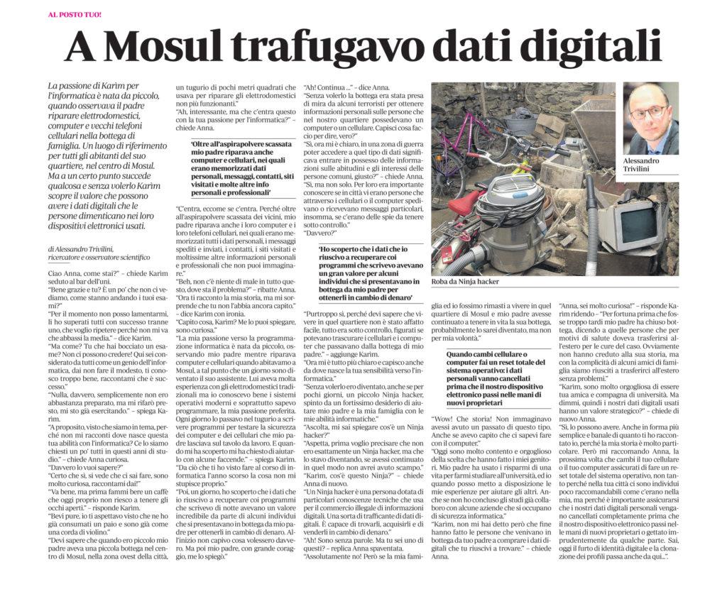 A Mosul trafugavo dati digitali