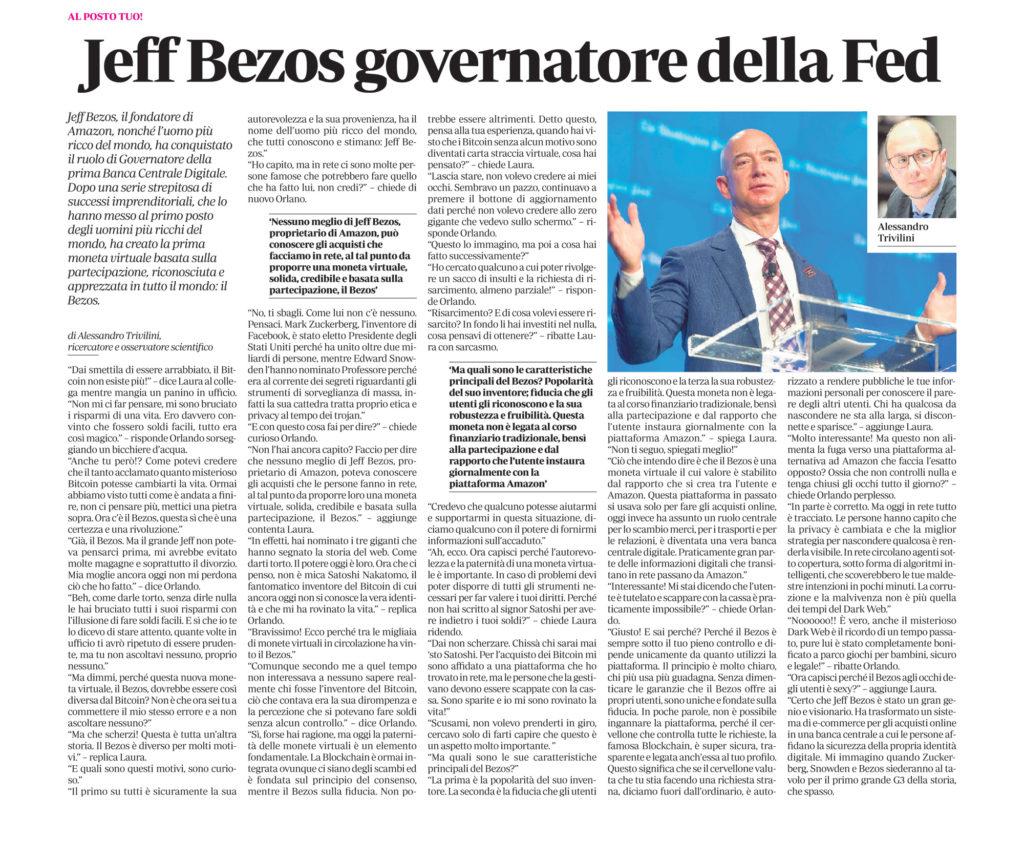 Jeff Bezos governatore della Fed