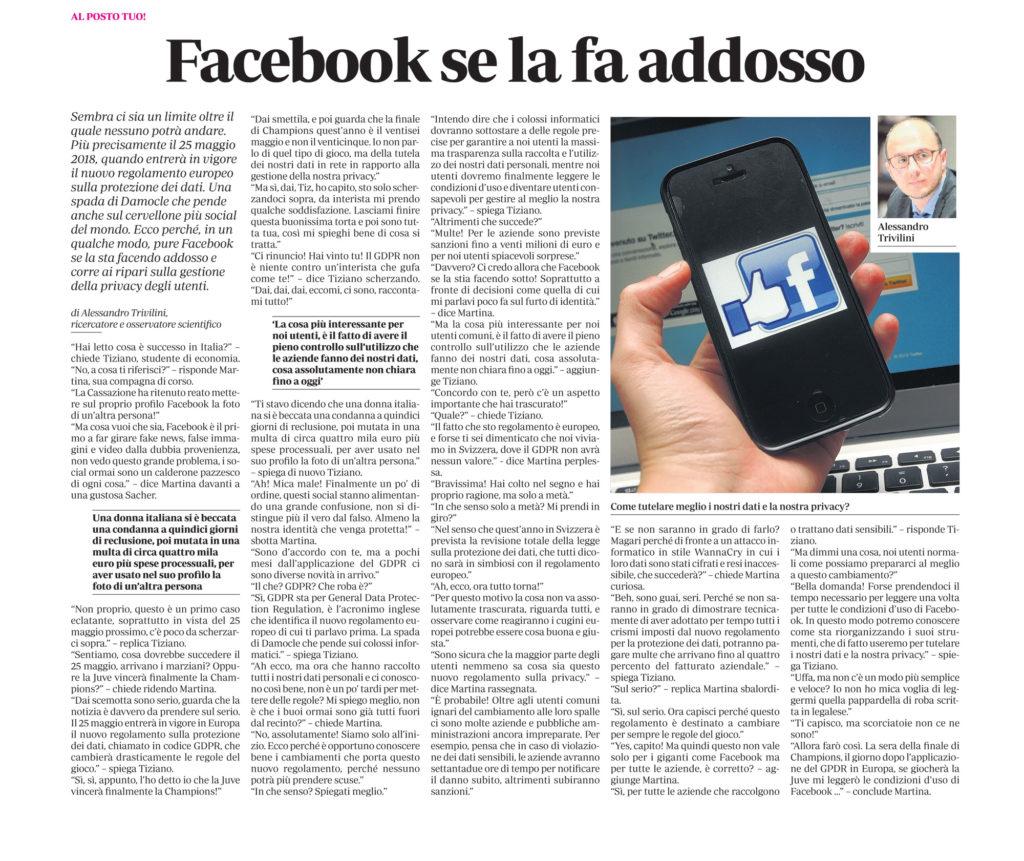 Facebook se la fa addosso