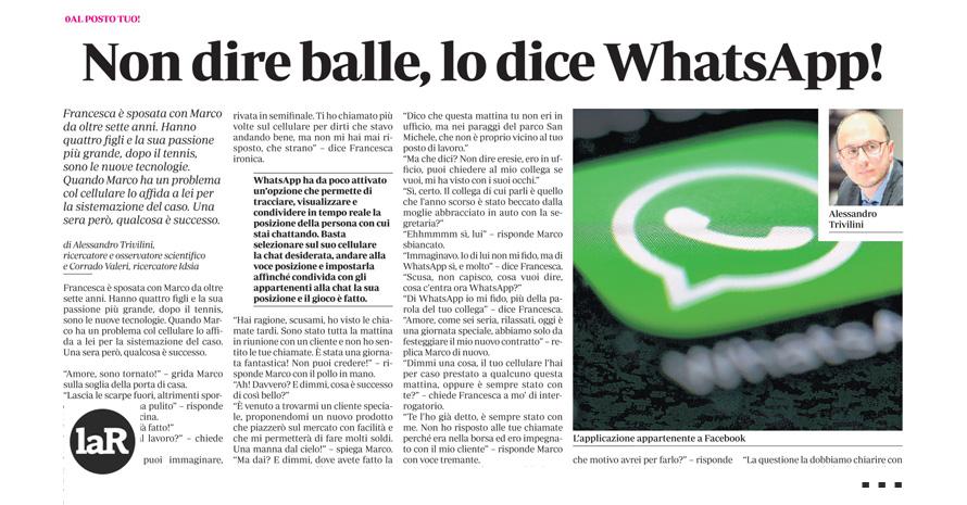 Non dire balle, lo dice Whatsapp