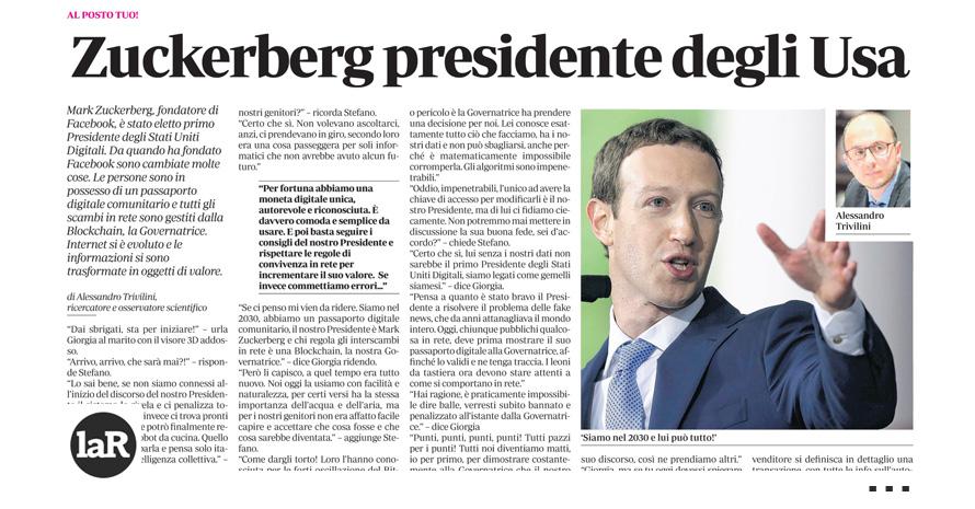 Zuckerberg presidente degli USA
